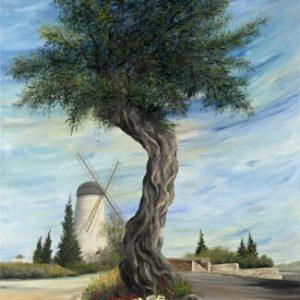 הזית על רקע הטחנה 80-120 Olive tree with windmill in the backgroundהזית על רקע הטחנה 80-120 Olive tree with windmill in the background