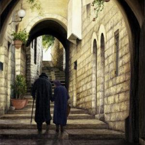זוג זקנים במעלה הרובע 60-90 An Elderly Couple Ascending the Jewish Quarter