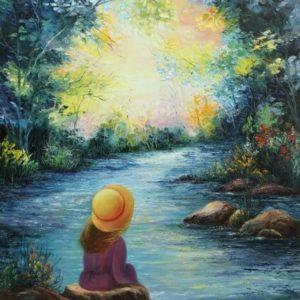 ילדה על אבני הנחל 80-90 Girl Sitting on River Stones